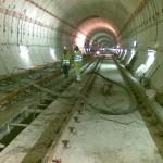 Bombeo de hormigón con tubería. Túnel Tren de Cercanías Guadalhorce - Aeropuerto de Málaga